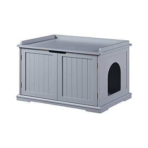 unipaws Designer Cat Washroom Storage Bench, Litter Box Cover, Sturdy Wooden Structure, Spacious...