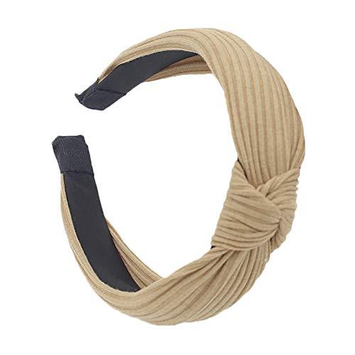 Neue Damen Stirnband Haarband,Mode Stirnband Twist Haarband Bogen Knoten Kreuz Krawatte Headwrap Haarband Hoop (Khaki, Medium)