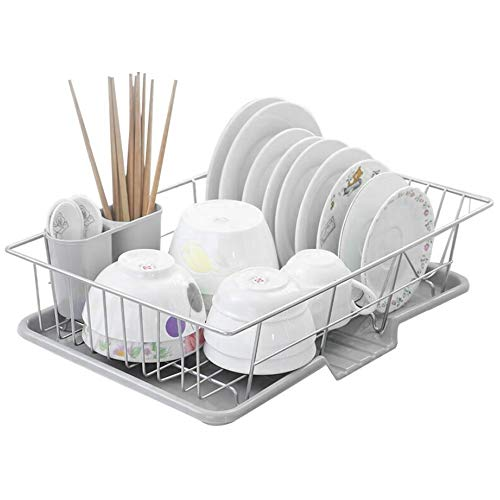 Youyijia Dish Drainer Rack with Drip Tray and Cutlery Holder Plate Draining Basket Rack Kitchen Drying Tools Grey