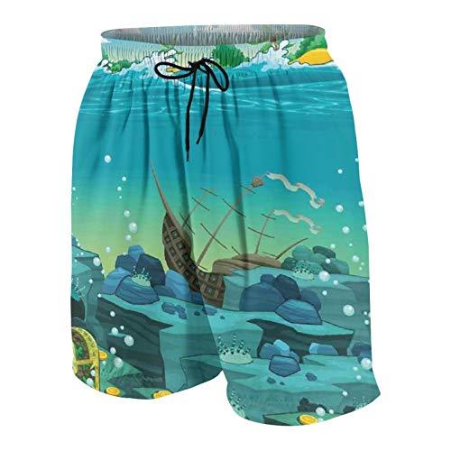 De Los Hombres Casual Pantalones Cortos,Dibujos animados de paisaje marino bajo el agua con Treasure Galeon y barco hundido pirata Kids Print,Traje de Baño Playa Ropa de Deporte con Forro de Malla