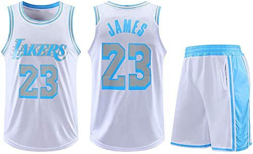 Conjuntos de Camisetas de Baloncesto para Hombre, NBA Lakers # 23 Lebron James Unisex Competición Deportes Uniforme de Deportes Ropa Sportswear Sin Mangas,L