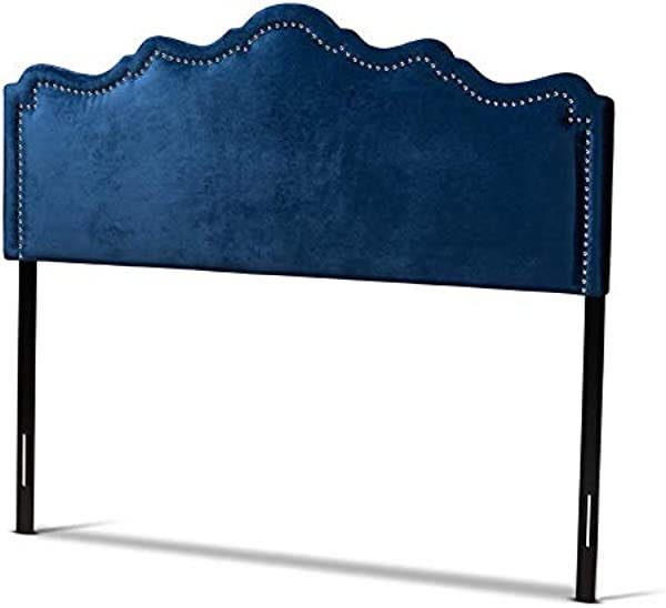 Baxton Studio Nadeen Royal Blue Velvet Fabric King Size Headboard