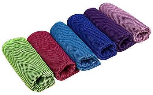 Ranvi Eiskühlung Handtuch-kompakte Kühlung gewickelt Halstuch für Yoga, Golf, Camping, Strand, Fitness, Training, 6 Stück.