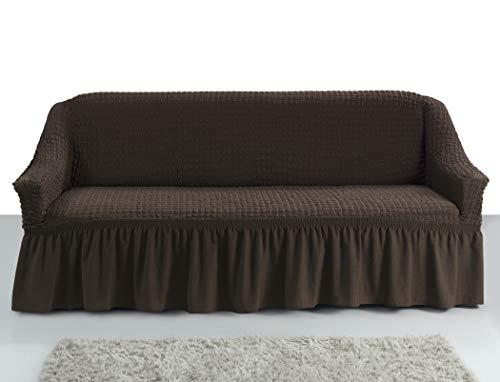 My Palace Giorgia Sofabezug 3-Sitzer Rutschfester Sofaüberwurf Couchcover Sofa Überwurf elastische Sofahusse Couchbezug Sofaschonbezug 140-210cm Braun
