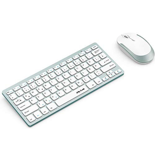 Jelly Comb Funkmaus und Tastatur Set 24G Kabellose Ultraslim Mini Tastatur und Maus Combo QWERTZ Deutsches Layout fur MacBook PC Laptop Smart TV Weis und Grun