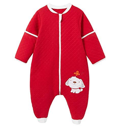 ganzjährig schlafsack baby mit Füßen für Junge und Mädchen winter kinder Overalls/Jumperin 2.5 Tog(85-95cm-12/24monate,Rot Hund)