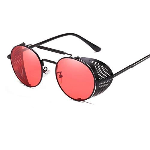 NJJX Gafas De Sol Steampunk Redondas Retro Para Hombres Y Mujeres, Gafas De Protección Lateral, Montura Metálica, Lentes De Espejo Góticas, Gafas De Sol, Negro, Rojo