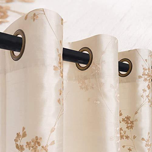 TOPICK Blümchen Bestickung Vorhänge mit Ösen künstliche Seide Bestickt Gardinen Schal für Salon (Beige, 140x245cm)