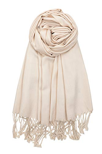 Achillea Large Soft Silky Pashmina Shawl Wrap Scarf in Solid Colors (Beige)