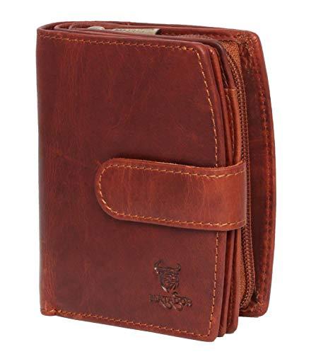 MATADOR Damen Geldbörse aus Echt Leder mit RFID/NFC Schutz Portemonnaie in braunem Antik Vintage Design, Geldbeutel inklusive Geschenkbox