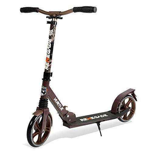 Lightweight and Foldable Kick Scooter - Adjustable Scooter for Teens and Adult, Alloy Deck with High Impact Wheels, Durable ABEC-7 Bearings w  T-bar Anodized Clamp Collar, Real Tree - Hurtle HURTSRT