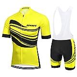 SUHINFE Ciclismo Maillot y Culotte Pantalones Acolchado 5D para Verano Deportes al Aire Libre Ciclo Bicicleta, L