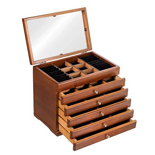 Caja de Almacenamiento de joyería de Madera Espejo Incorporado, 5 cajones Organizador de Joyas de tamaño Compacto, Pendientes Anillos Accesorios Vitrina