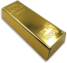 Gold Bar Bullion Replica Metal case with Golden Cover - for Party favores Small Jewelry and Glasses