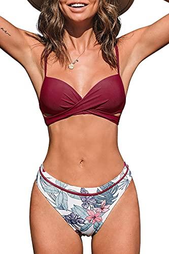CUPSHE Damen Bikini Set Wickeloptik Push Up Bikini Bademode Blumenmuster Zweiteiliger Badeanzug Swimsuit Weinrot M