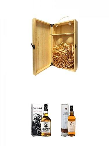 1a Whisky Holzbox für 2 Flaschen mit Hakenverschluss + Sheep Dip Vatted Malt Whisky 0,7 Liter + Smokey Joe Islay Malt Whisky 0,7 Liter