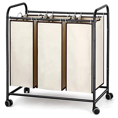3Bag Laundry Hamper Sorter Black 3 Section Rolling Dirty Clothing Organizer Cart Triple Laundry Basket with Heavy Duty Lockable Wheels and Three Removable Laundry Bags for Bathroom Living Room