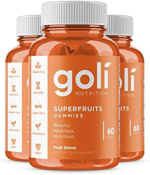 SUPERFRUITS Vitamin Gummy by Goli Nutrition - 3 Pack 180 count - with collagen-enhancing ingredients. Radiate. Rejuvenate. Refresh (Mixed fruit, Vegan, Plant Based, Non-GMO, Gluten-Free, Gelatin Free)