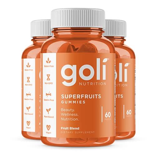 SUPERFRUITS Vitamin Gummy by Goli Nutrition - 3 Pack 180 ct - with Collagen-Enhancing Ingredients. Radiate. Rejuvenate. Refresh (Mixed Fruit, Vegan, Plant Based, Non-GMO, Gluten-Free, Gelatin Free)