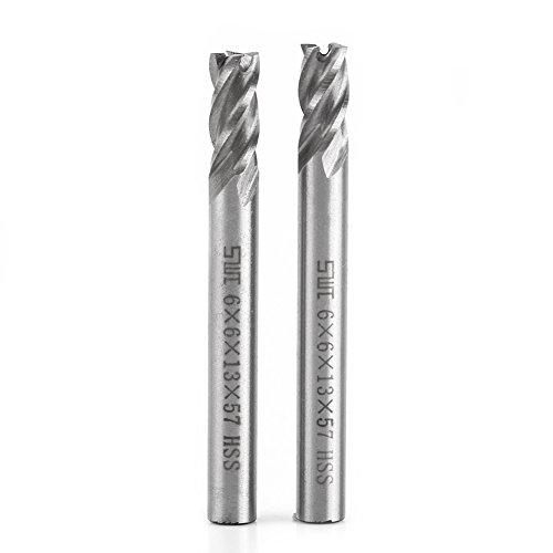 2 unids 4 Flautas Molino de Extremo HSS 6mm Cortador de Fresado de Metal Máquina de Fresado de grabado Bits Router Bits CNC Herramienta de Fresado