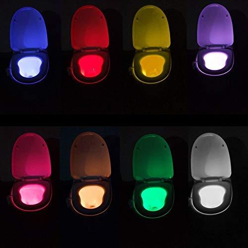 Zonfer 1pc Cuarto De Baño WC Aseo Luz Nocturna Luz De Fondo Luz De Inodoro WC Asiento De Inodoro Luces del Sensor De Movimiento del Sensor De Movimiento Noche Lightcolor Cambio Aseo Luz