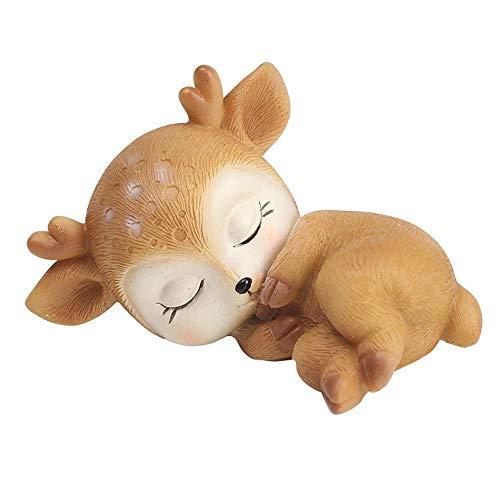 Leegoal Figurines de cerf endormi en résine - Mini figurine de cerf 3D - Accessoires de collection pour Noël, voiture, maison, table de fête