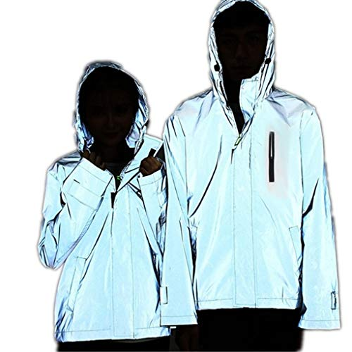 sweetnice man clothing 3M Reflective Jacket for Men Women Casual Hiphop Windbreaker Waterproof Cycling Running Safety Jacket (XXXXXL, Gray)