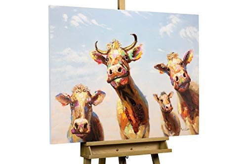 KunstLoft® Acryl Gemälde 'Agathe und Freunde' 100x75cm | original handgemalte Leinwand Bilder XXL | | Wandbild Acrylbild Moderne Kunst einteilig mit Rahmen
