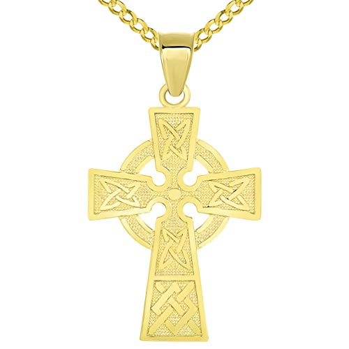 Solid 14k Yellow Gold Trinity Knot Celtic Cross Pendant with Cuban Chain Necklace, 22'