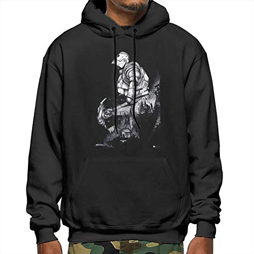 NANANO Men's Cotton Pullover Comfortable Hoodie Sweatshirt Print Print Iron Giant Hooded Shirts with Pocket,Black,Medium