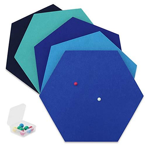SEG Direct Sechseck Filztafel Blau Serie 5-teiliges Set mit Stecknadeln 26 x 30 x 1 cm