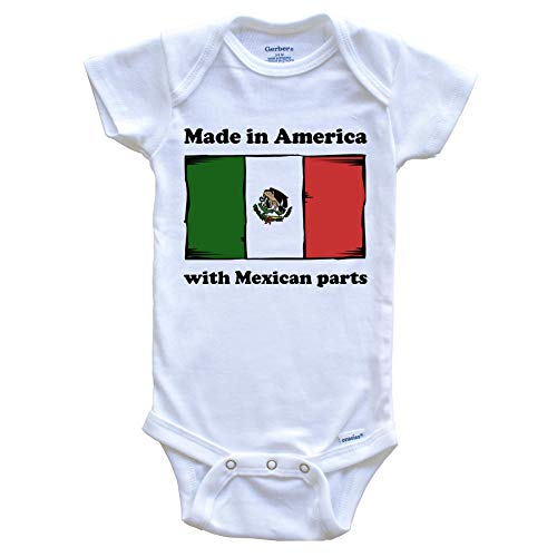 Made in America with Mexican Parts Funny Mexico Flag Baby Onesie, 3-6 Months White