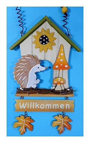 N / A Willkommen Holz Igel Fensterdeko 33 x 13 cm Türdeko Tier Figur Deko E143