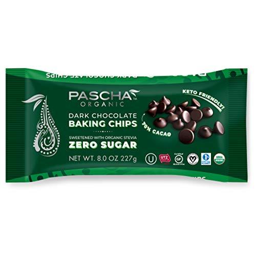 Pascha Organic Keto Sugar-Free Bitter Sweet, 70% Cacao Chocolate Baking Chips, UTZ, Gluten Free, Non GMO, Sweetened with Organic Stevia, 6 Pack