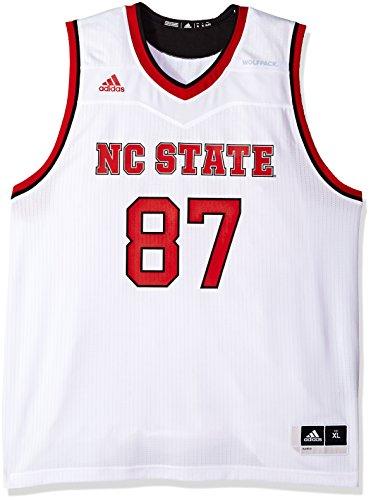 Adidas NCAA North Carolina State Wolfpack - Camiseta de baloncesto para hombre, réplica de camiseta de baloncesto, color blanco, talla XL