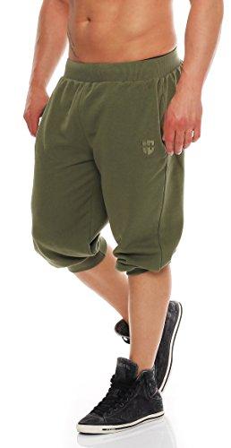 Gennadi Hoppe Herren 3/4 Trainingshose Jogginghose Bermuda Pant (2XL, Khaki)