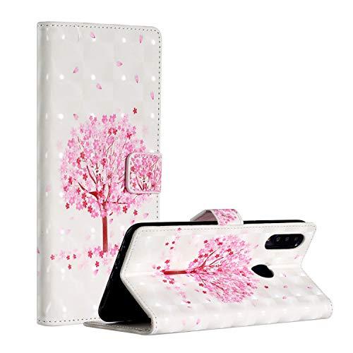 QFUN Leder Hülle für Samsung Galaxy A20S mit Kartenfach,Glitzer Muster [Kirsche Baum] Magnetverschluss Ständer Schutzhülle Fallschutz Handyhülle Schutztasche und Displayschutzfolie