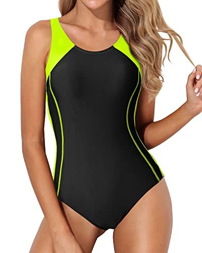 Tempt Me Traje de baño de una pieza para mujer atlético espalda cruzada traje de baño de entrenamiento ejercicio adelgazante traje de baño, Negro neón, verde, L