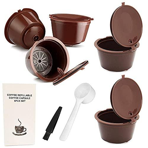 Pack 5 Cápsulas Cafetera Dolce Gusto Recargables y Reutilizables más de 250 veces. Para Cafetera Dolce Gusto con sabor a cafe de maquina italiana - Repuestos Recargable de plástico y acero inox