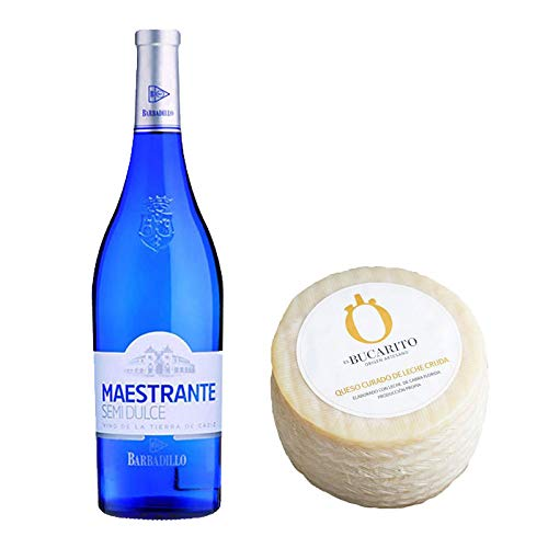 Pack de Vino blanco Maestrante y Queso Curado de Leche Cruda - Vino de 75 cl y Queso de 900 g aprox - Mezclanza