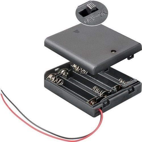 CABLEPELADO Portapilas para 4 pilas LR6 AA con interruptor Negro