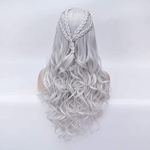Lang krullend golvend synthetisch haar pruiken vrouwen meisje cosplay pruiken voor kostuums kerstfeest (zilvergrijs)