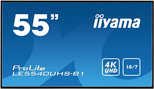 iiyama ProLite LE5540UHS-B1 138.68cm (55 Zoll) Digital Signage Display AMVA3 LED Panel 4K UHD Ultra Slim (VGA, DVI, HDMI x2, USB, RS232, RJ45 LAN, IR) schwarz