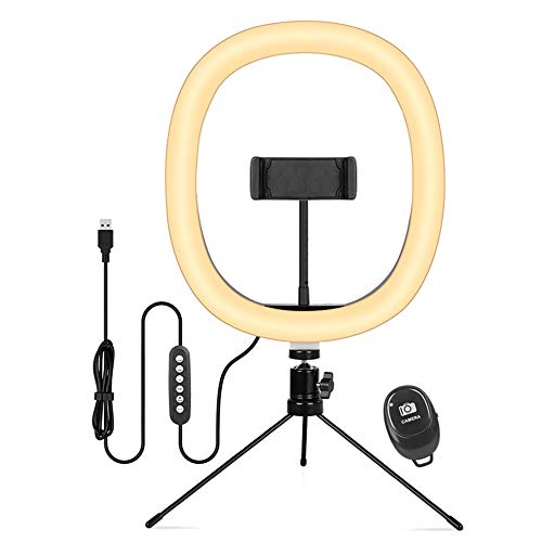 Pineapplen Anillo de Luz LED Regulable para Luz de Anillo Selfie, con TríPode para TransmisióN en Vivo, Video, Escritorio de Maquillaje