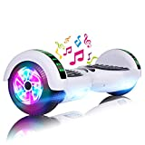 LIEAGLE Hoverboard 6.5' Two-Wheel Self Balancing Electric Scooter UL 2272 Certified with LED Lights Flash Lights Wheels (White)