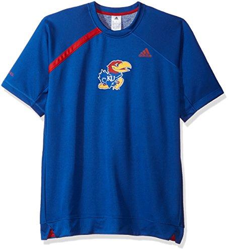 adidas Adult Men NCAA On Court S/S Shooting Shirt, X-Large, Collegiate Royal, Kansas Jayhawks