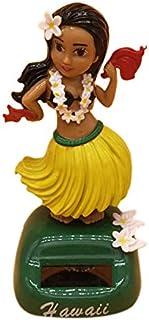Andifany Decoración del Coche Falda de Hierba Solar Hawaiana de Interiores Decoración del Coche del Salpicadero de Descompresión Falda de Chica Hawaiana Juguete de Cabeza Móvil - Amarillo