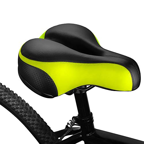 BLUEWIND Bike Seat, Most Comfortable Bicycle Seat Replacement with Dual Shock Absorbing Ball Wide Bike Seat Memory Foam Bicycle Gel Seat with Mounting Wrench Yellow