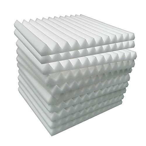 Paquete de 20 azulejos de espuma acústica, con forma de cuña acústica, tratamiento retardante de fuego, 30 x 30 x 2,5 cm, 20 unidades, color blanco