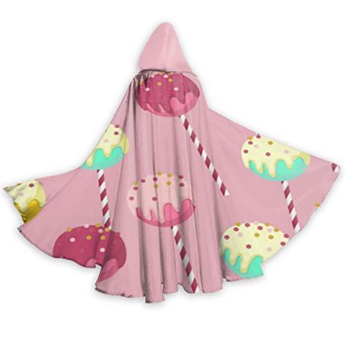 Sweet Snack Colorful Round Lollipop Ligero Capa con Capucha Mujer Capa con Capucha Abrigo 59 Pulgadas para Navidad Disfraces de Halloween Cosplay